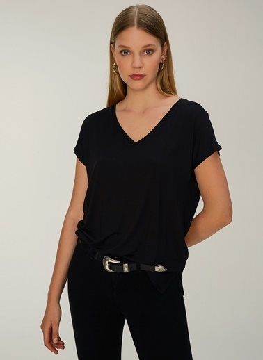 NGSTYLE V Yaka Basic Tshirt Siyah